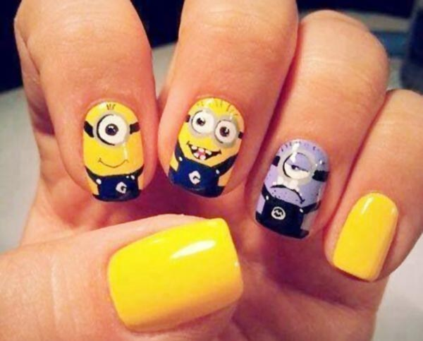 funny yellow despicable me minions nails