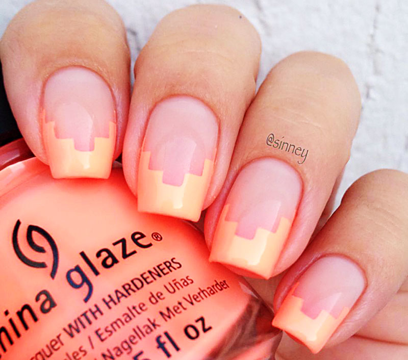 geometric french neon salmon summer nails