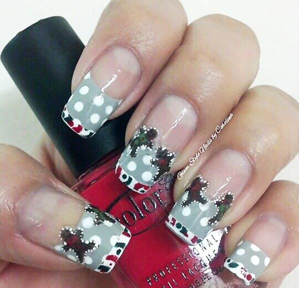 gingerbread men dotted french christmas nails