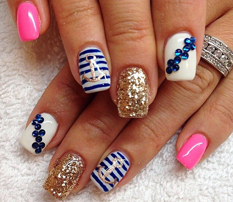 girly navy glitter fabulous nails