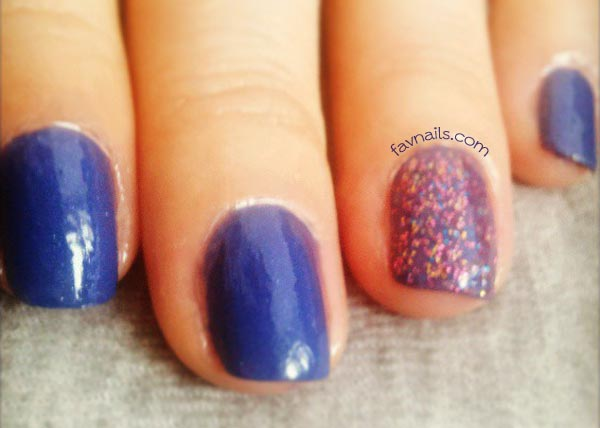 glitter accent blue nails