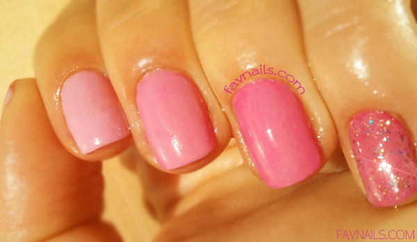 glitter accent pink gradient nails