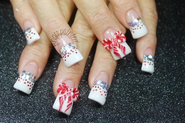 glitter bows french nails