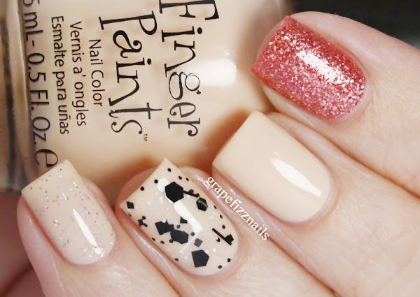 pink glitter confetti mix on neutral nails