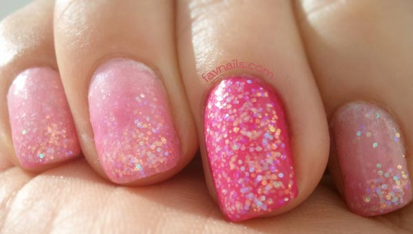 glitter dip pink gradient girly nails