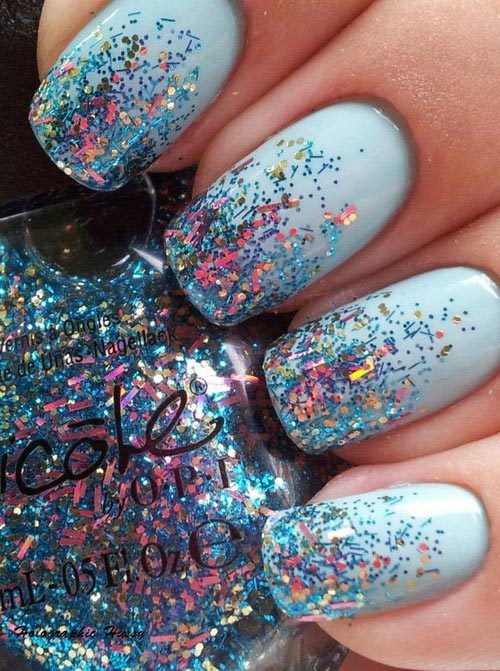 glitter dipped light blue nails