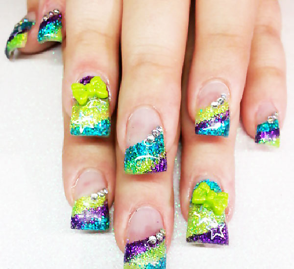 glitter french colorful nails
