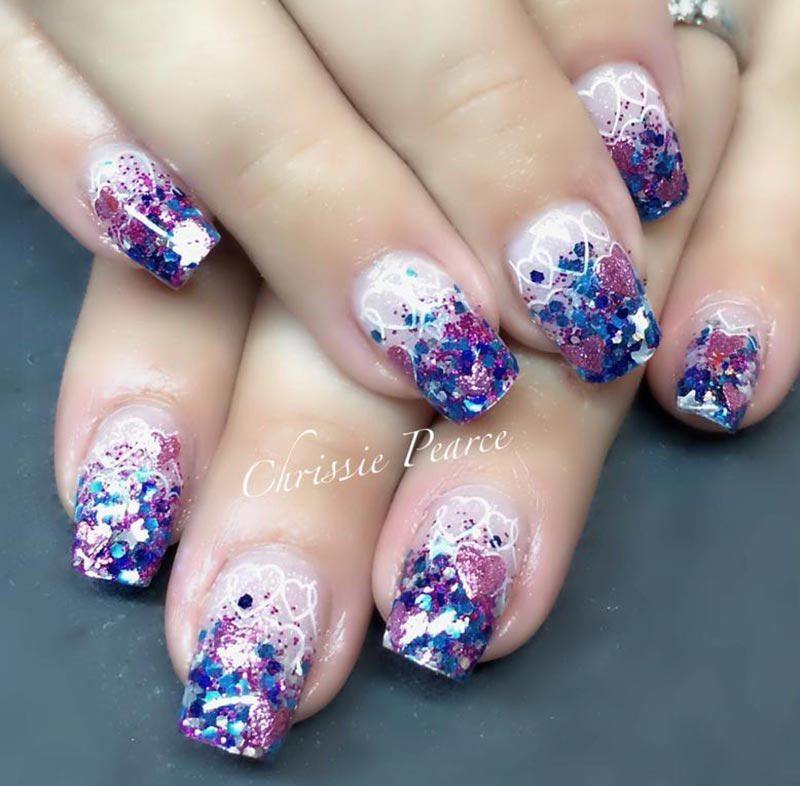glitter french gradient hearts valentines day nails