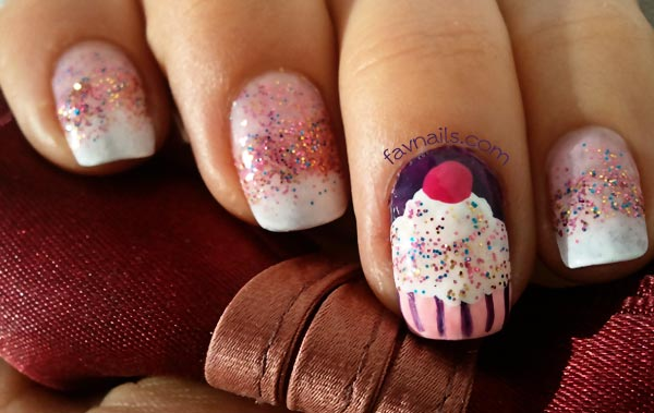 glitter gradient cupcake birthday nails