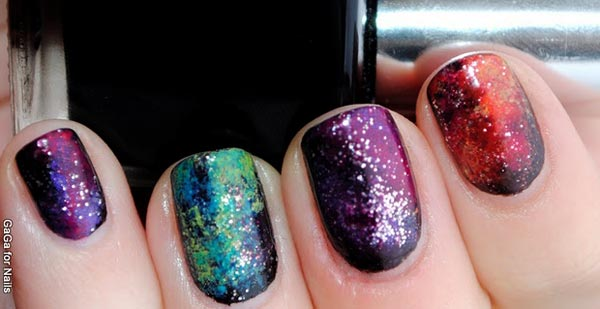 glitter gradient galaxy nails