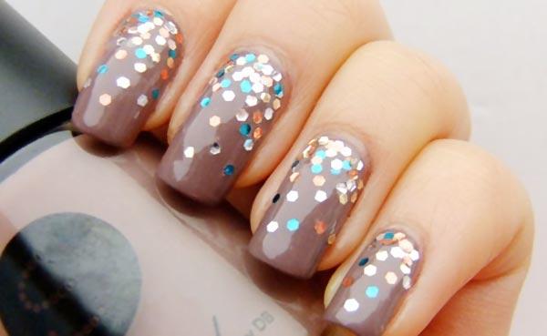glitter gradient halfmoon nails