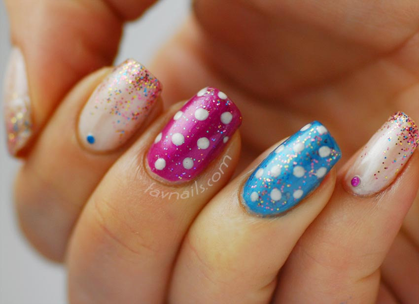 glitter gradient pink blue dotted cute nails
