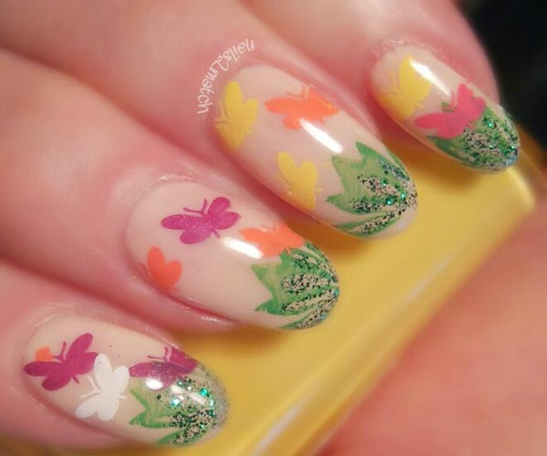glitter grass butterflies spring easter nails