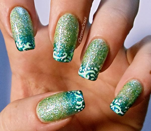 glitter green gradient nails