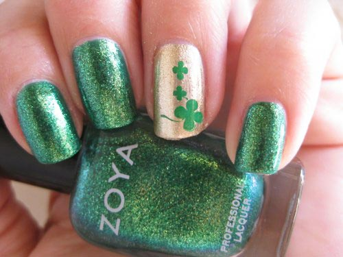 glitter green st patricks nails