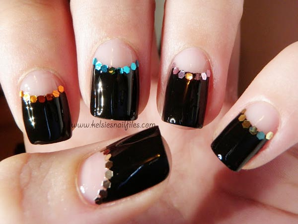 glitter half moon black nails