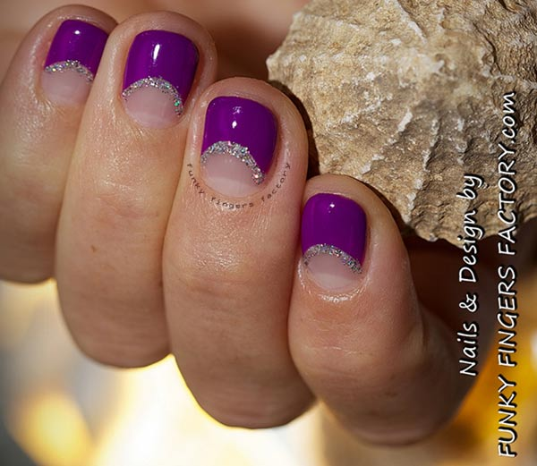 glitter halfmoon purple french nails