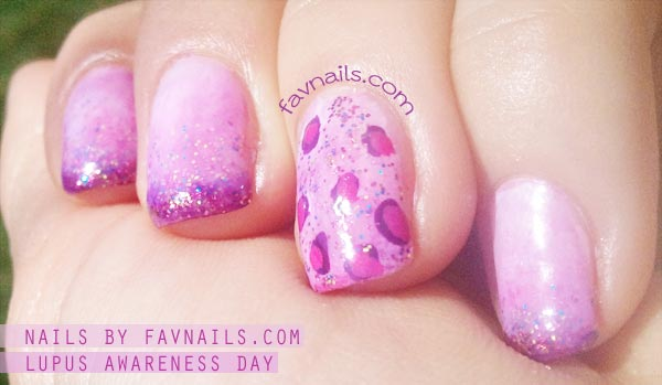 glitter leopard pink purple gradient nails