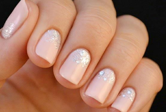 glitter light peach nails