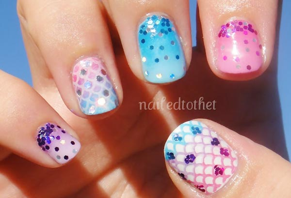 glitter mix stamped scales pastel nails