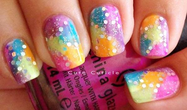 glitter neon tie dye nails