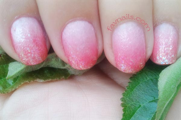 glitter peach gradient summer nails