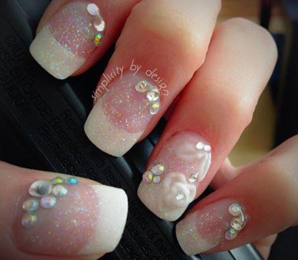 glitter rhinestones 3D flowers wedding french nails