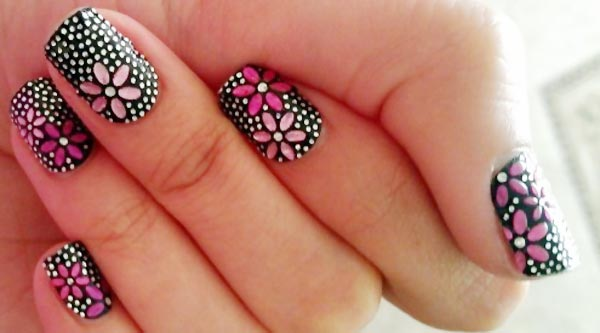 glitter rhinestones flowers spring black nails