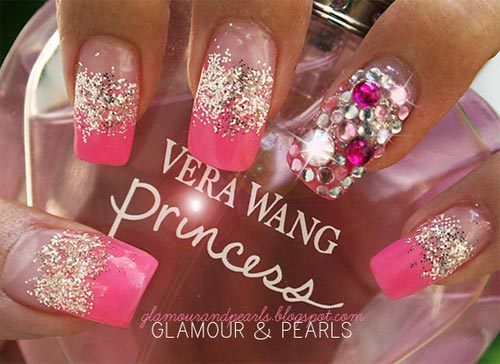 glitter rhinestones pink french nails