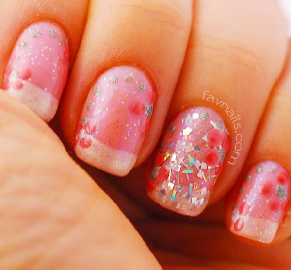 glitter silver pink dotted flowers french wedding nails