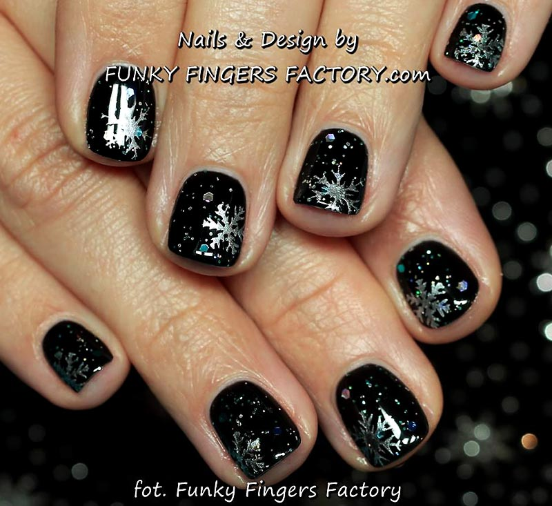 glitter silver snowflakes winter party nails
