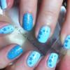 glitter stars accents blue nails