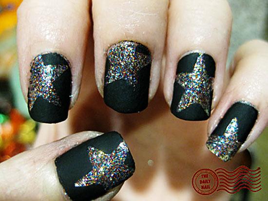 glitter stars black matte party nails