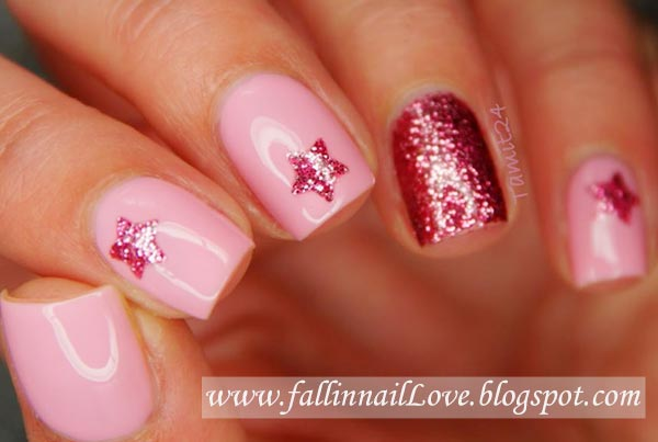 glitter stars lovely pink nails