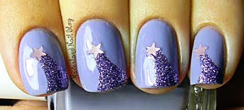 glitter stars nails