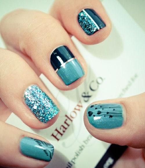 glitter stripes hearts blue nails