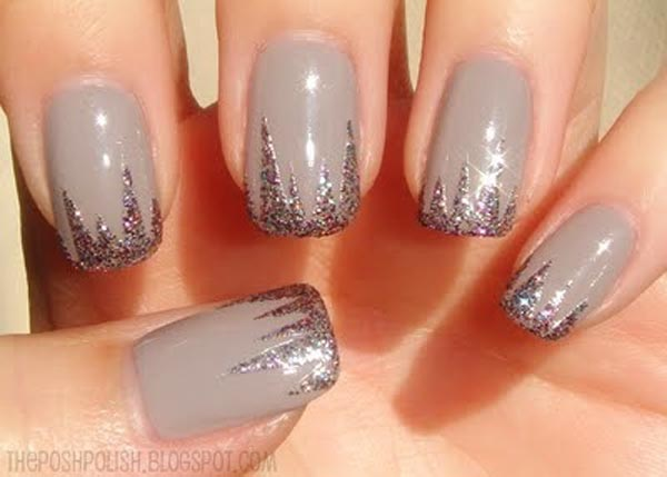 glitter tips gray modern french nails