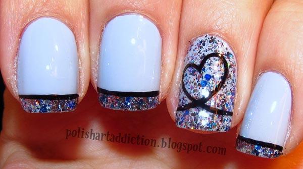 glitter tips on white nails