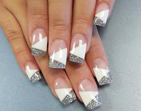 glitter white diagonal geometry french nails