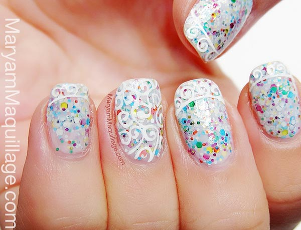 Incredible White and Glitter Wedding Nails 600 x 459 · 46 kB · jpeg