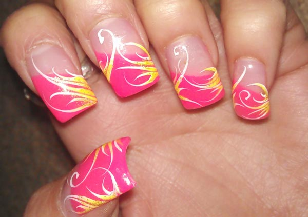 golden accents pink tips french nails
