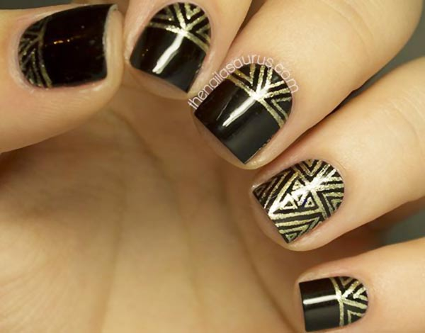 gold aztec geometry black festive nails