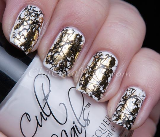 gold black on white nails