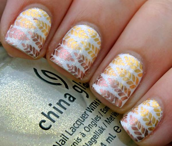 gold bronze leaves stamped shimmer fall nails