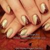 gold burgundy glitter festive studded nails