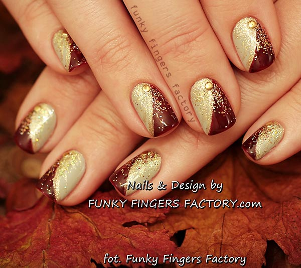 Gold burgundy glitter festive studded nails favnails gold burgundy glitter festive studded nails prinsesfo Choice Image