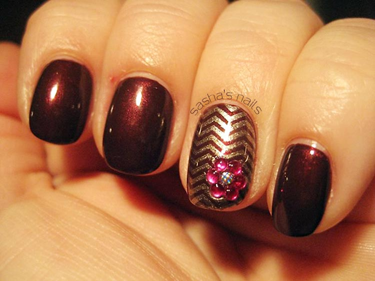 gold chevron stamped burgundy nails