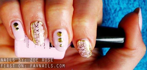 gold details studded pink nails