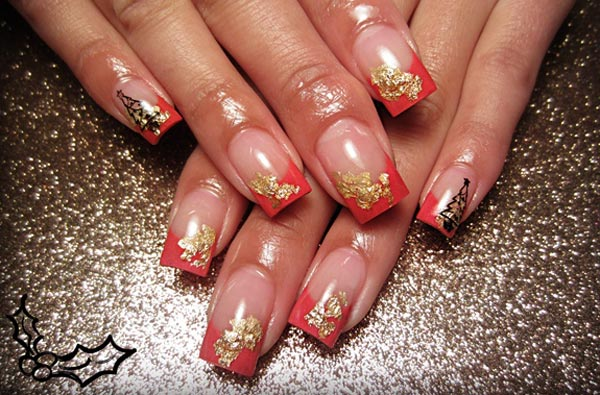 gold glitter black Christmas tree french nails