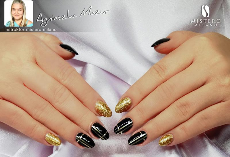 gold glitter black gold new year's eve nails